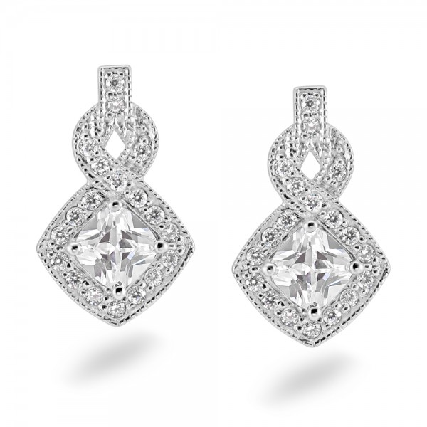 Sterling SIlver Cubic Zirconia Earrings C033E