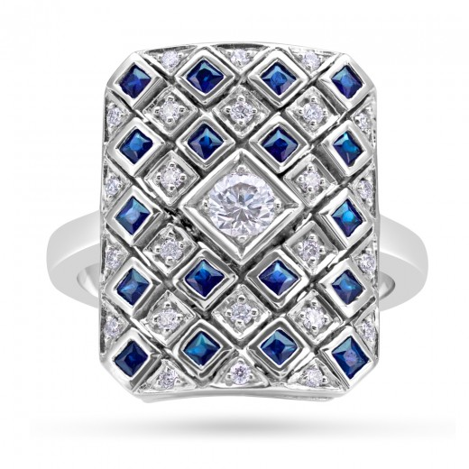 18ct Gold Art Deco Diamond Sapphire Ring