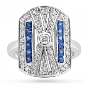 18ct Gold Art Deco Diamond Blue Sapphire