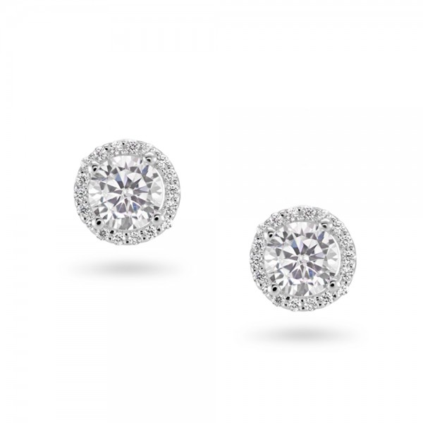 Sterling Silver Cubic Zirconia Stud Earrings ref C025E