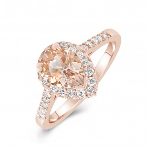 Ring 9ct Rose Gold Champagne Morganite and Diamond