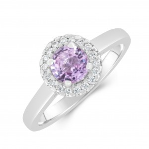 18ct White Gold Pink Sapphire Diamond Ring