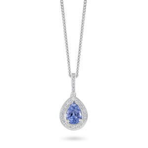 18ct White Gold Diamond and Blue Sapphire Pendant