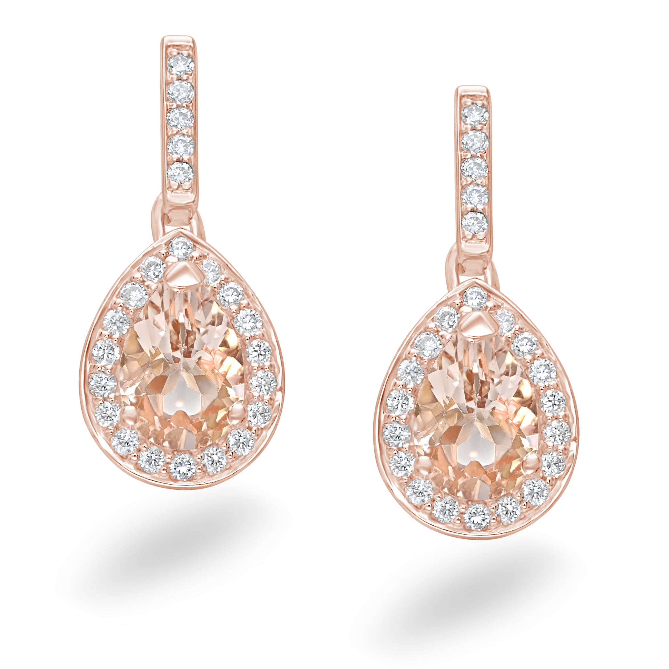 Earrings 18ct Rose Gold Champagne Morganite and Diamond d695205588