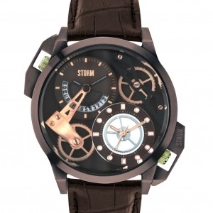 Storm Dualon Leather Watch Brown