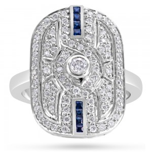 18ct Gold Art Deco Diamond Sapphire