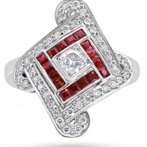 Art Deco Ring 18ct White Gold Ruby