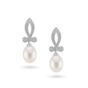 Vintage Sterling Silver Pearl Earrings ref C036E