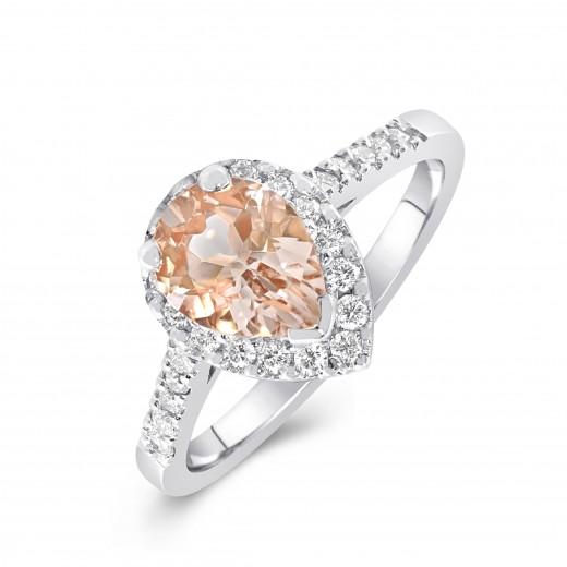 Ring 9ct White Gold Champagne Morganite and Diamond