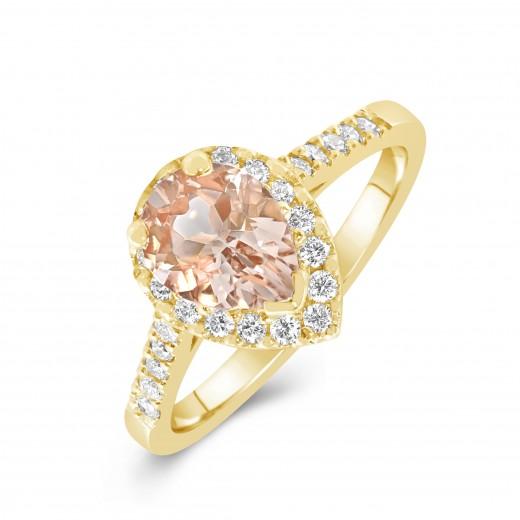 Ring 9ct Yellow Gold Champagne Morganite and Diamond
