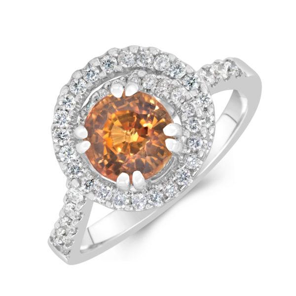 18ct White Gold - Diamond & Yellow Sapphire Ring