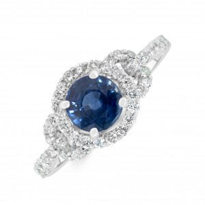18ct White Gold Blue Sapphire Diamond Ring
