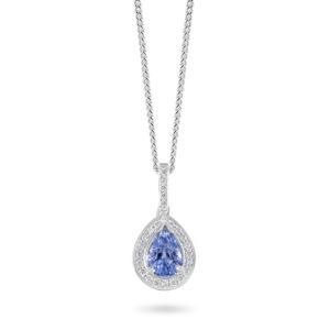 18ct White Gold Diamond and Blue Sapphire Pendant