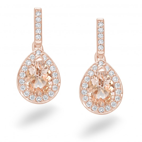 Earrings 18ct Rose Gold Champagne Morganite and Diamond
